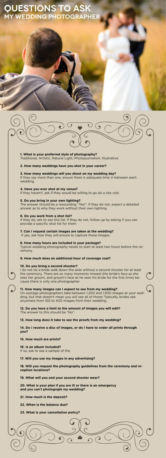 Top Questions You Need To Ask Your Wedding Photographer