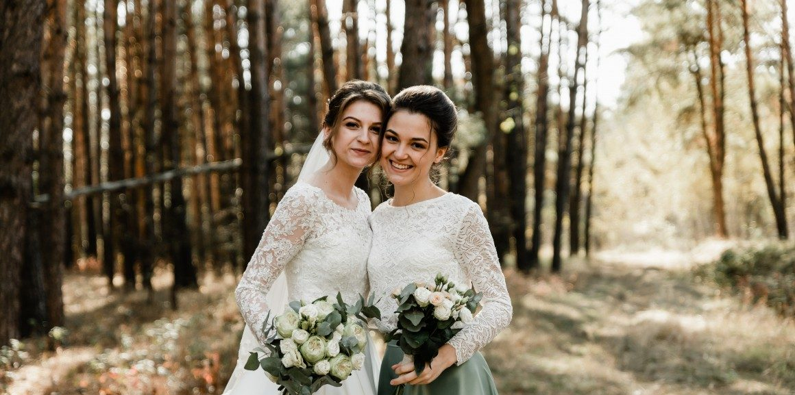 Bride and Maid of Honour in Forest