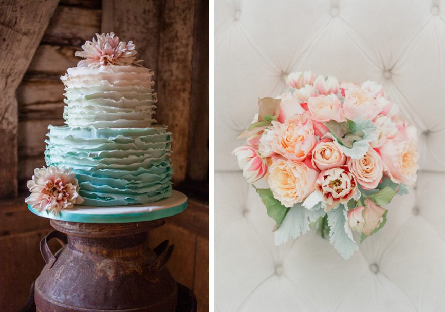 4-peach-and-sea-foam-wedding-cake-and-bouquet
