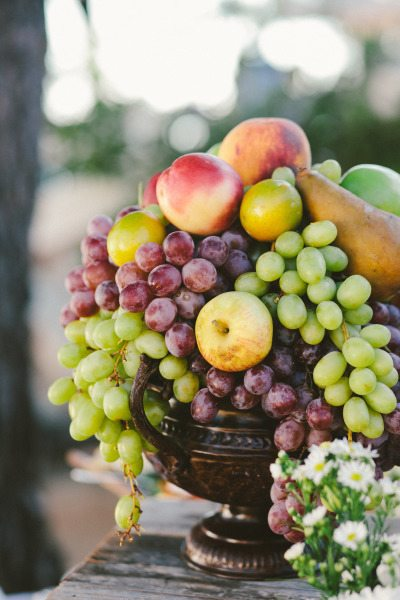 Fruit filled centerpieces for your reception