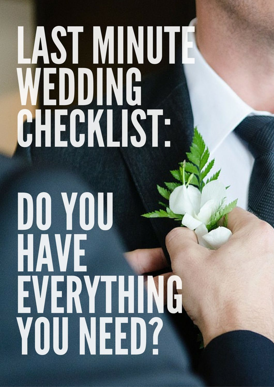 last minute wedding checklist