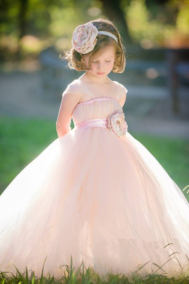 2015-New-Charm-Blush-and-Light-pink-Flower-Girl-Dress-with-Headband-Girl-Party-Evening-Dress