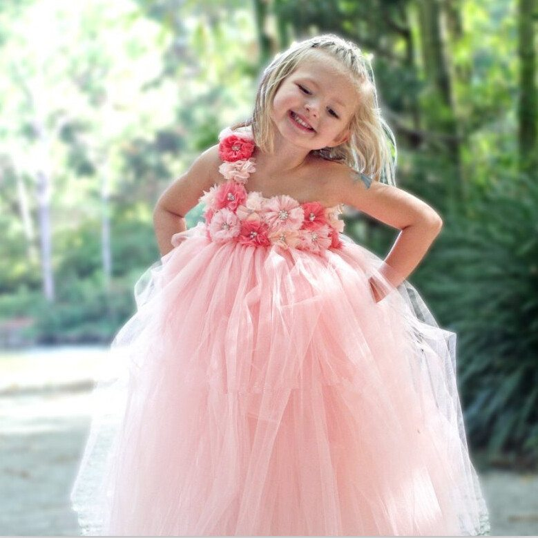 Gorgeous-Peach-Color-Flower-Girl-Dress-With-Coral-Pink-Peals-Flower-font-b-Floor-b-font