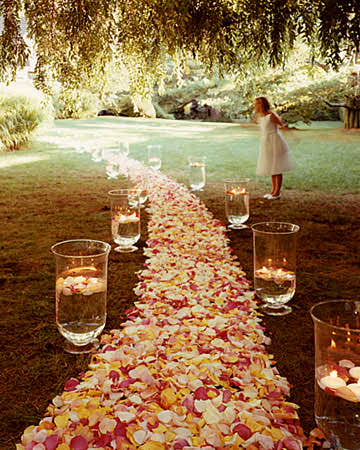Go for a wedding aisle runner covered with flowers