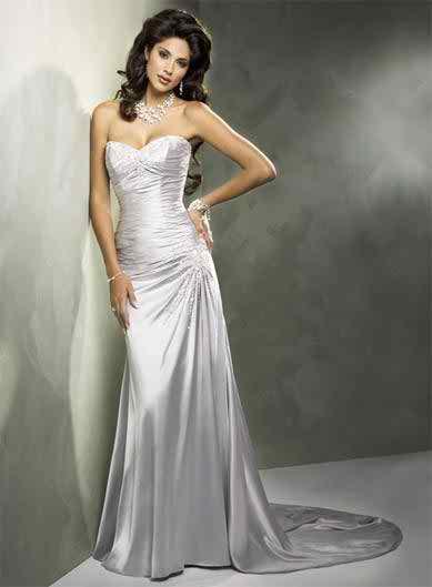 Wedding dress with beadings