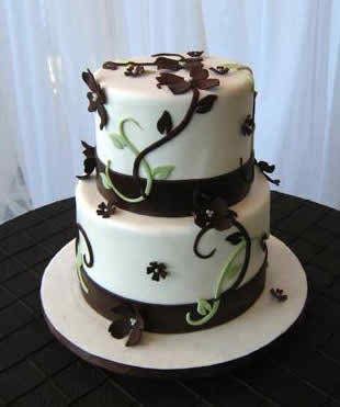 White and Brown Wedding Cakes