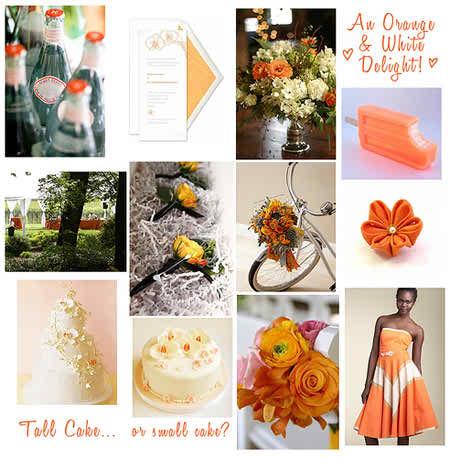 orange and white wedding
