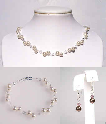 rhinestone and pearl bridal jewelry