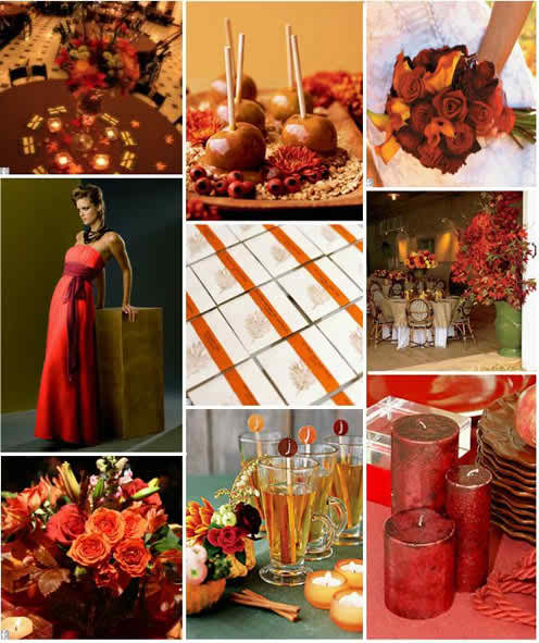 warm red as wedding theme