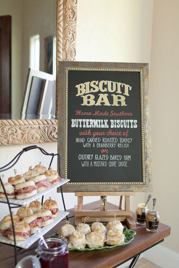 a biscuit bar is sure to indulge and comfort every lady at the event from fried chicken to country ham theres a bit of southern spirit wrapped up in this