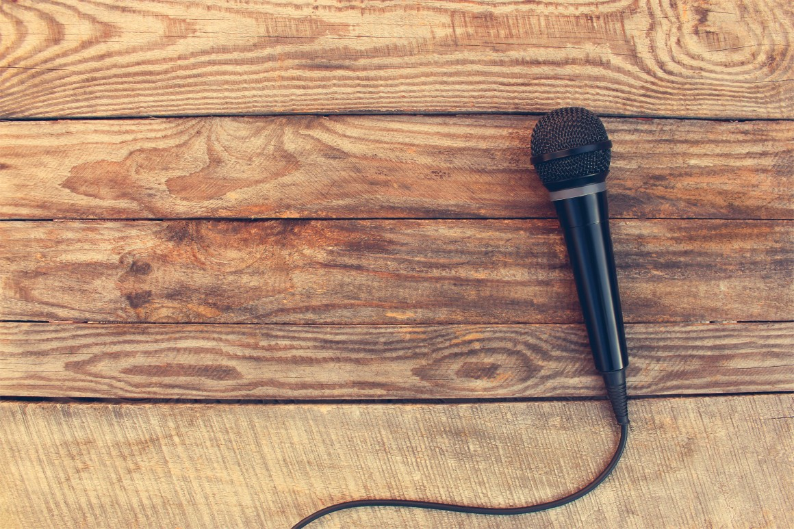 Microphone on wooden table
