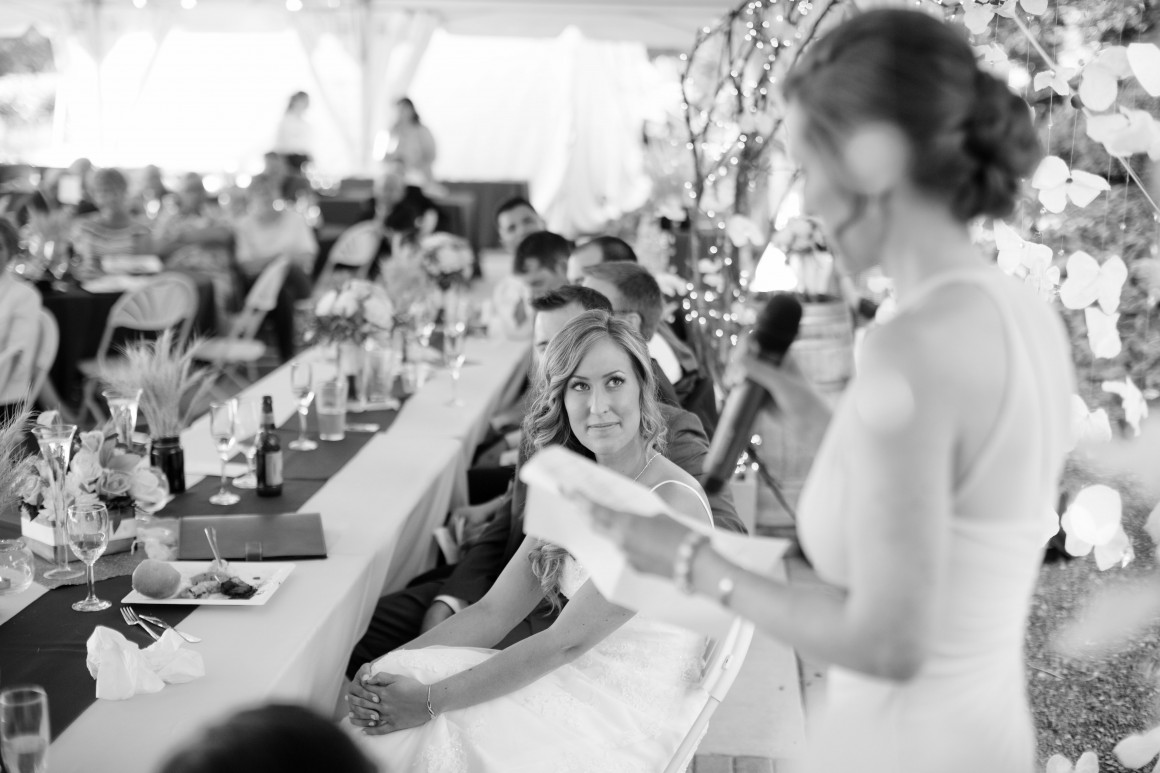 Sister of the bride giving speech at wedding