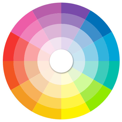 Full spectrum color wheel with all hues