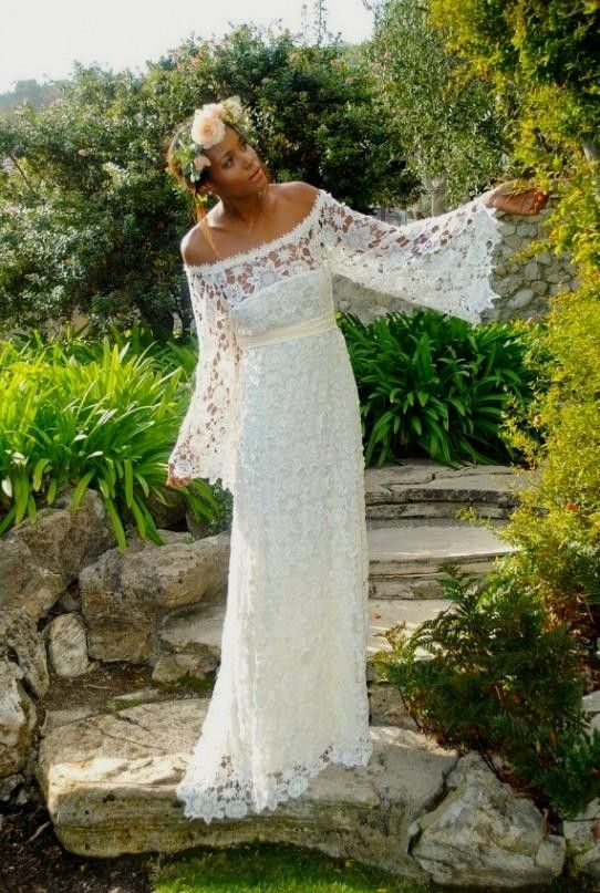 e3ff5f414b10a The lace is unique yet it's bridal and the silhouette is classic but  laid-back enough to appeal to a boho bride.