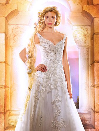 10 disney inspired wedding gowns from alfred angelo for Disney style wedding dresses