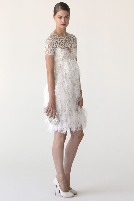 10 more wedding gowns full of fun feathers wedding for Short feather wedding dress