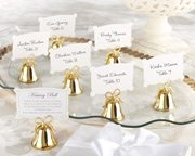Gold Kissing Bell Place Card Holder