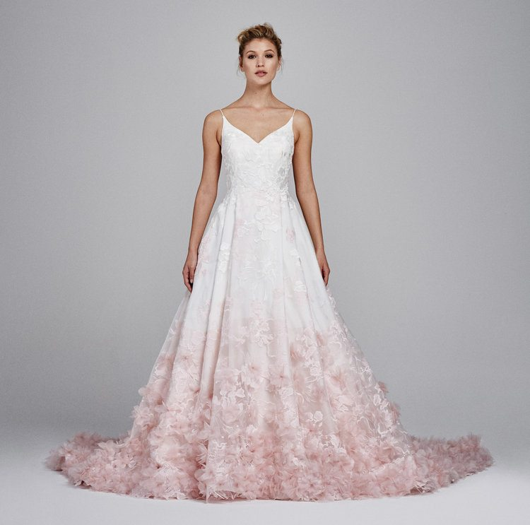 Curls At The Hemline And A Rouched Bodice To Nip Tuck All Right Spots It S Stunner You Can Even Get Gown In Both Ivory Rose Colors