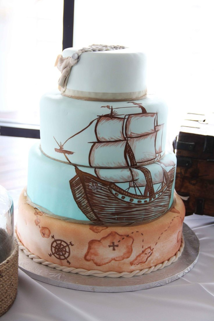 elegant pirate wedding cake on the high seas a pirate theme wedding 13962