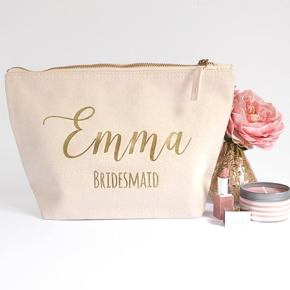 Personalized Bridesmaids Makeup Bag