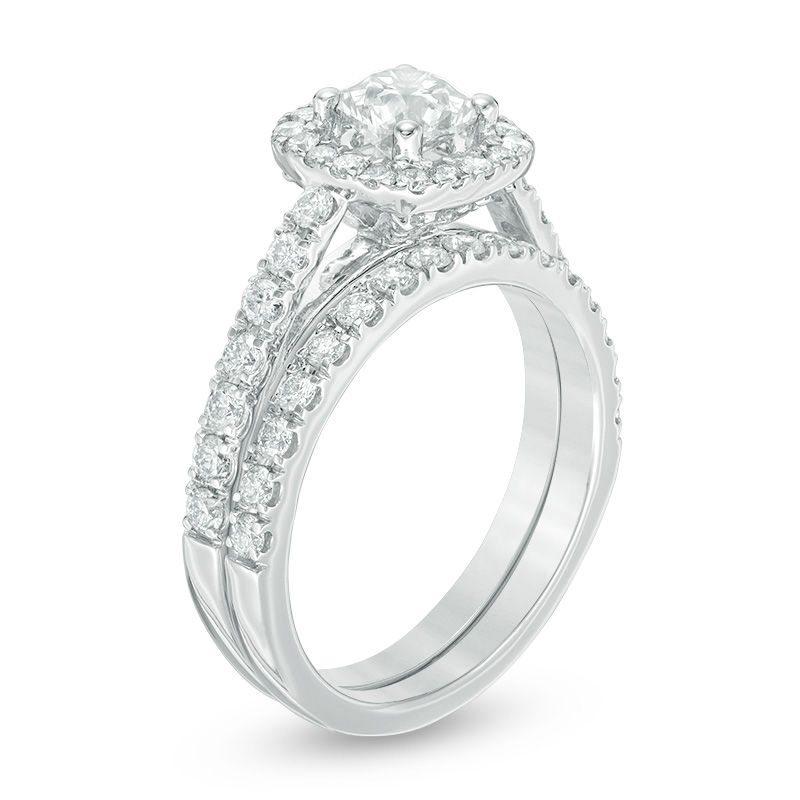 1 Ct. T.W. Diamond Frame Bridal Set in 14k White Gold