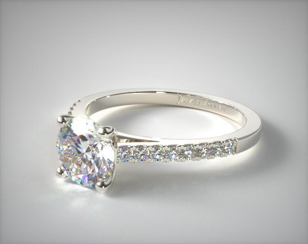 14k White Gold Petite Pave Cathedral Engagement Ring