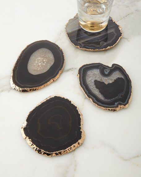 AERIN Black Agate Coasters, 4-Piece Set from Neiman Marcus