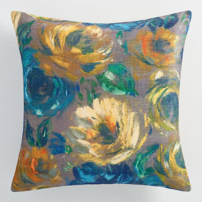 Floral Oil Paint Throw Pillow from World Market