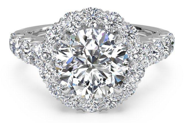 Round Cut Masterwork Halo Diamond Band Engagement Ring