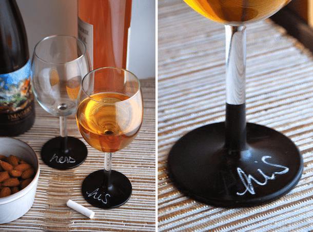 Chalkboard-Dipped Wine Glasses