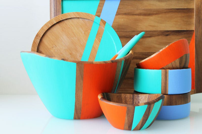 Colorblocked Wooden Bowls