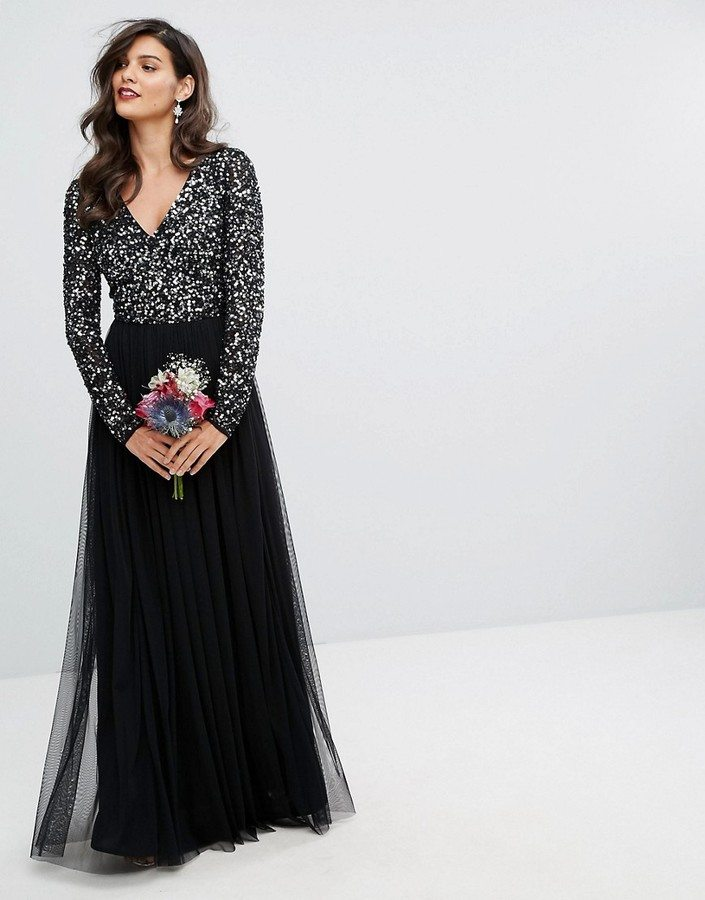 Maya Plunge Front Sequin Dress