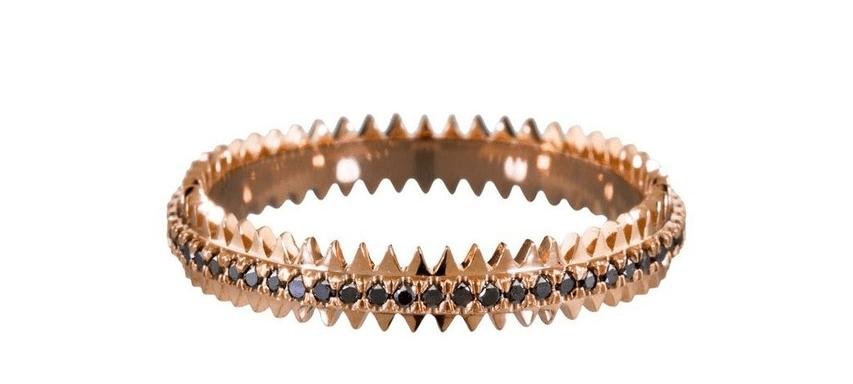 Black Diamond Rose Gold Zipper Ring by Eva Fehren