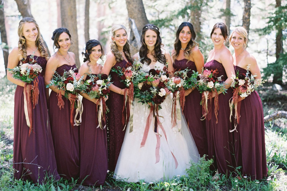 Bride and Bridesmaids in the Fall