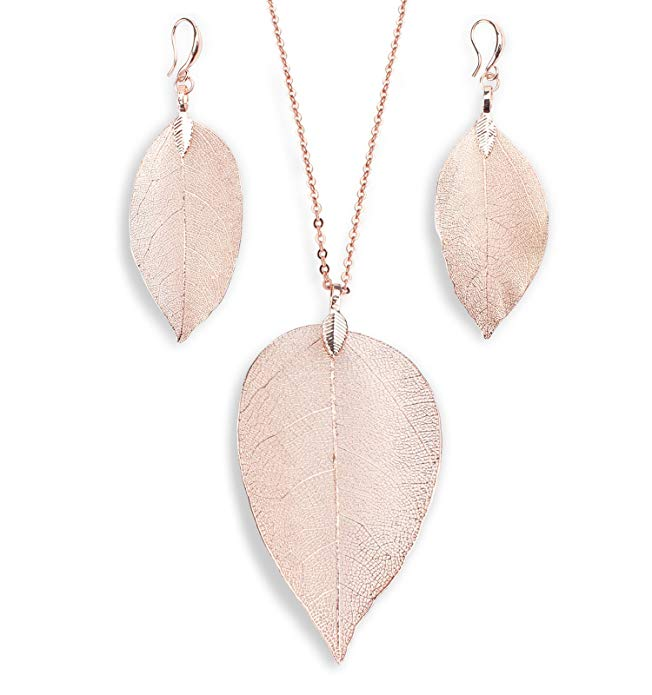 BOUTIQUELOVIN Rose Gold Filigree Leaf Necklace & Earring Set