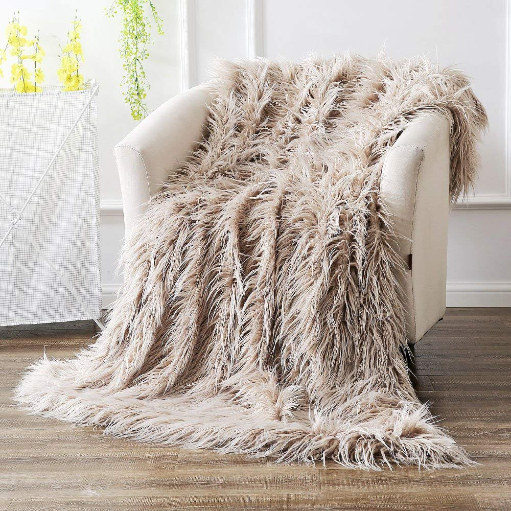 Ojia Shaggy Mongolian Lamb Throw Blanket