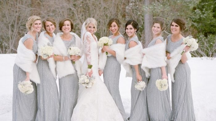 Bridesmaids and Bride in Winter Wedding