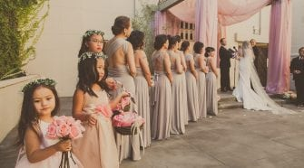 Line of Bridesmaids beside Bride