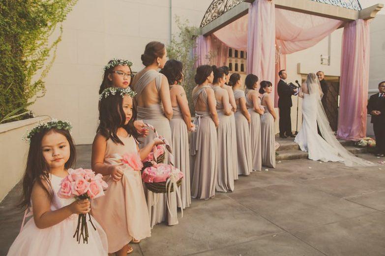 Line of Bridesmaids beside Bride
