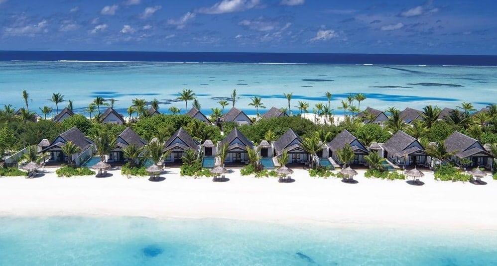 Tiny villas on a beach in the Maldives