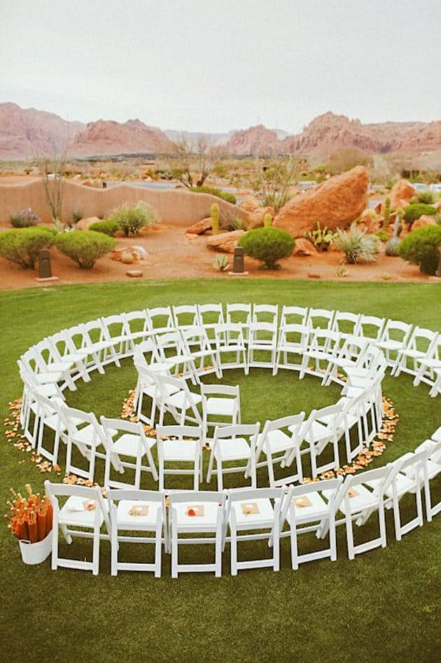 spiral shaped ceremony seating