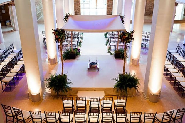 The square, center-altar wedding seating arrangement