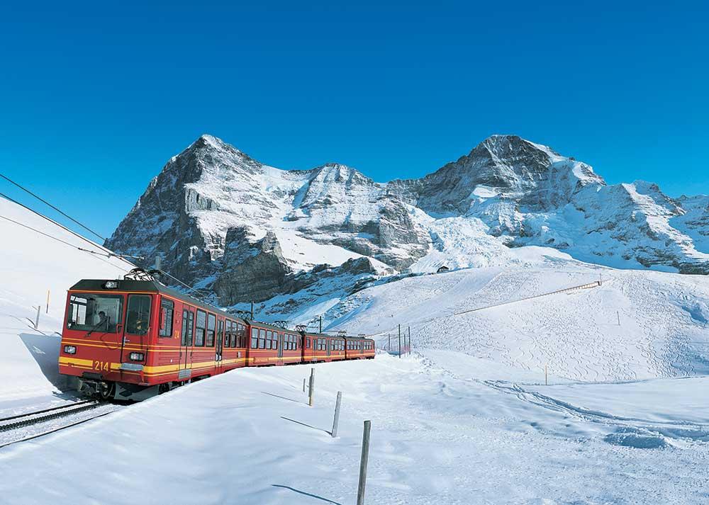Train to Swiss Alps in Switzerland