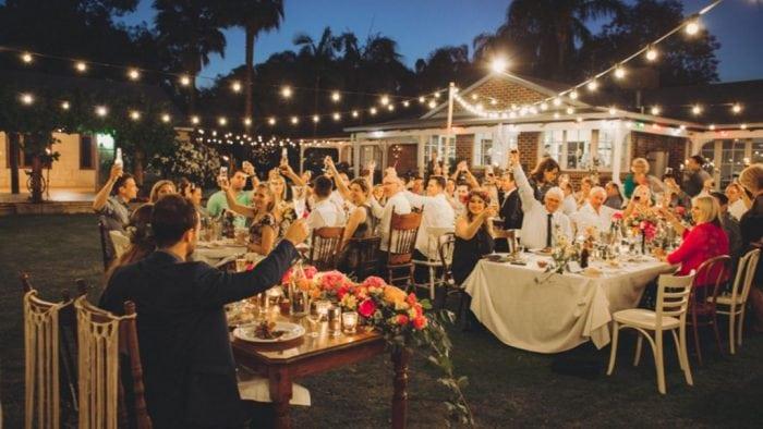 small backyard wedding at night