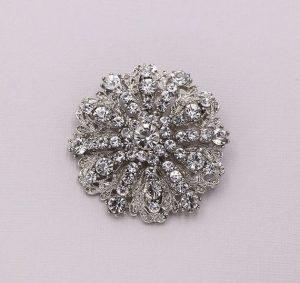 round handmade rhinestone bridal brooch