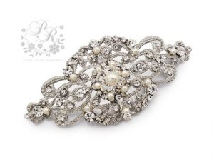 rhinestone and pearl bridal brooch