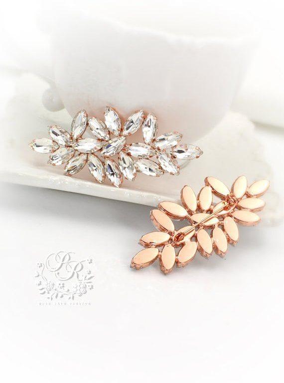 rose gold bridal brooch
