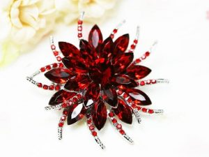 red flower brooch
