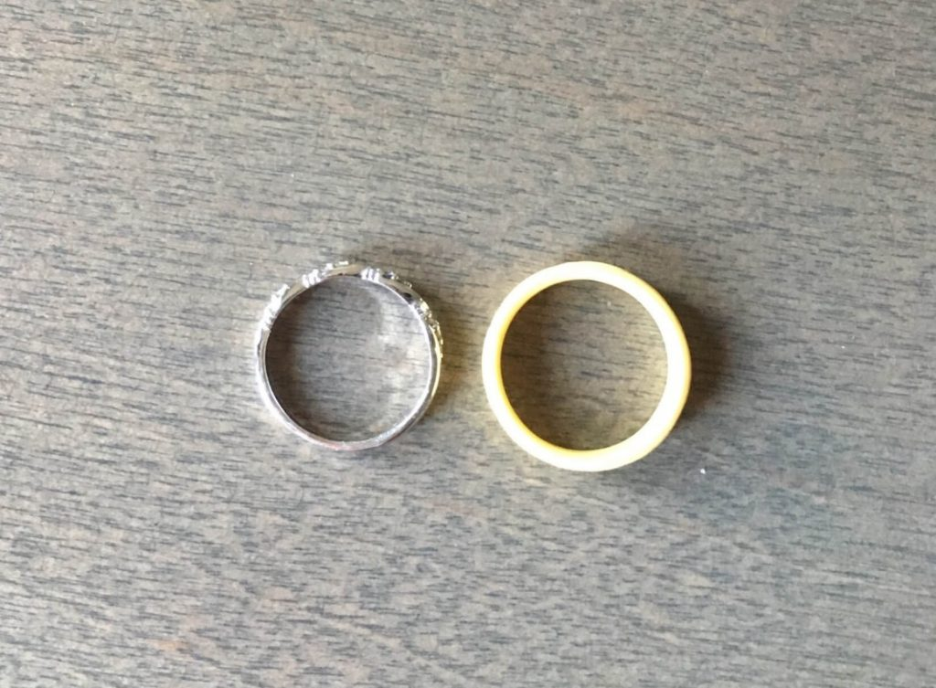 Gold Wedding Ring vs. Enso Silicone Ring Sizing