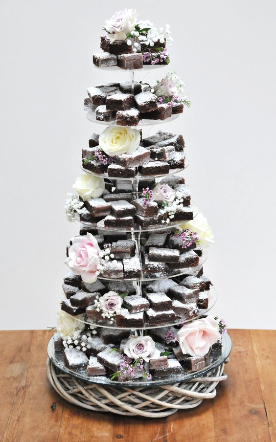 brownie tier alternative wedding cake